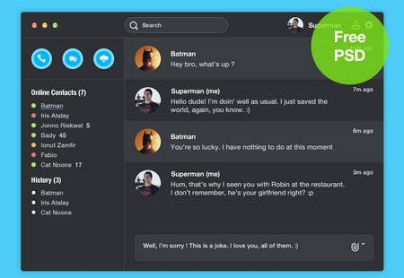 Skype for Mac dark (Free PSD) by Alexandre Naud