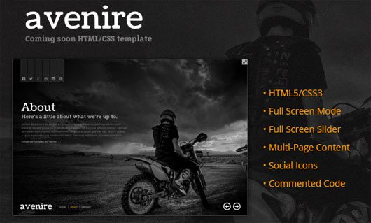 Avenir – A Free Coming Soon HTML Template