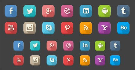 45 Long Shadow Social Icons Free .psd by Emrah Demirag
