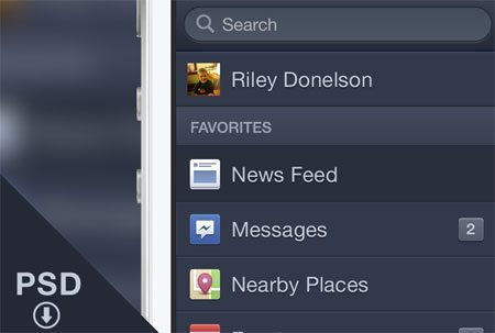 Facebook iOS Menu by Riley Donelson