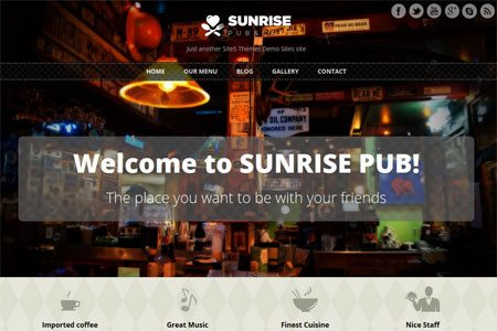 Sunrise - Free Responsive WordPress Theme for Pubs and Restaurants