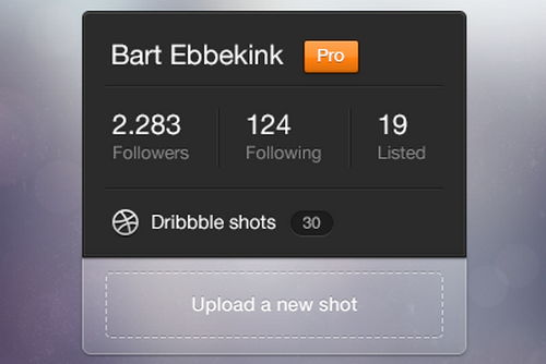 Dribbble Profile Widget by Bart Ebbekink