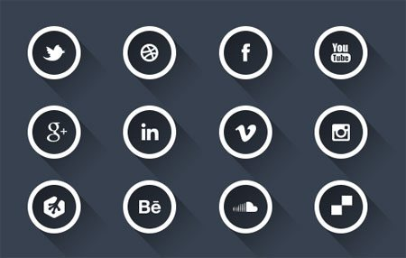 Social Media Icons Long Shadow, Free PSD by Atique