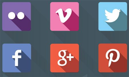 12 Flat Social Icons with Long Shadow