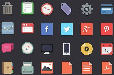 48 flat designer icons
