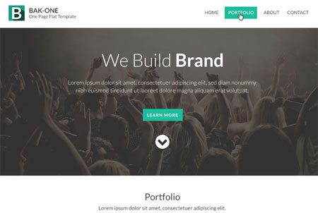 Flat Style Single Page Website Design Template PSD