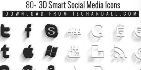 80+ Smart 3D Social Media Icons