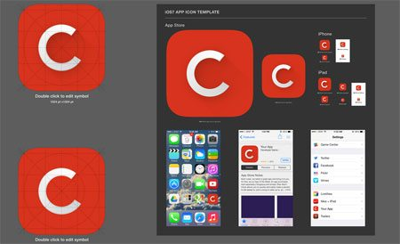 iOS7 App Icon Template (.AI) by Carol Lee