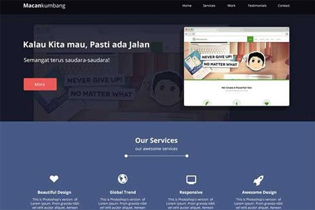 One Page Website Design: Macan Kumbang (PSD + HTML)