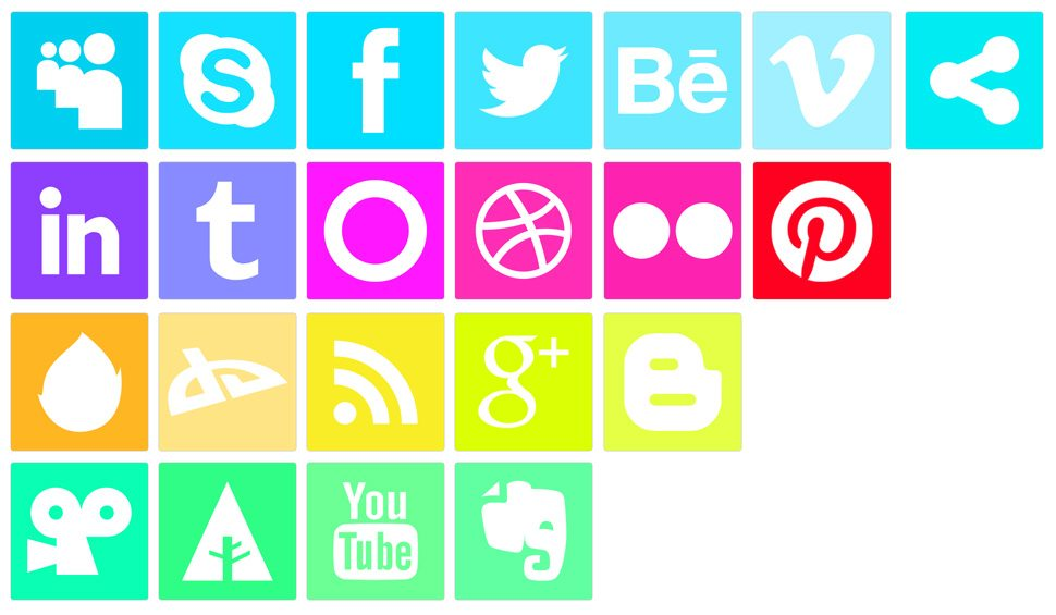Freebie: Vivid Neon like Social Media Icons
