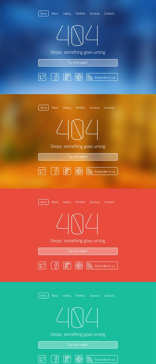 Clean Elegant 404 Error Page PSD Template