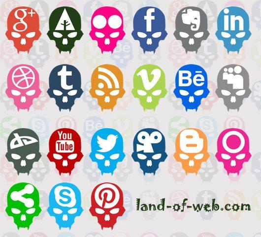 Skull-Inspired Social Media Icons