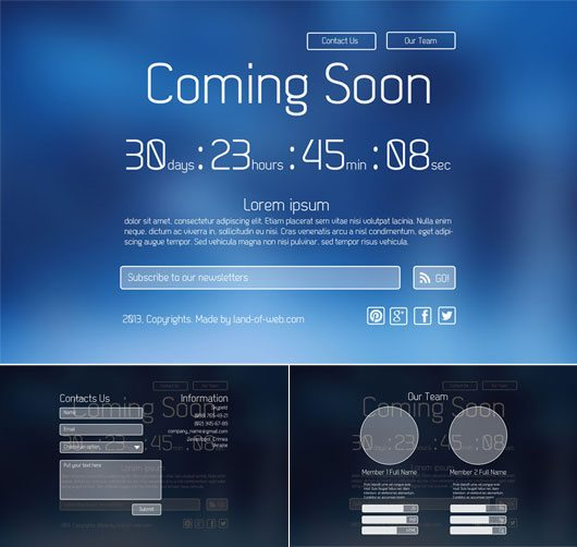 Clean Elegant Coming Soon Page PSD Template