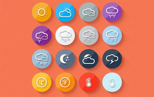 Flat Weather Icon Set by Osenbel