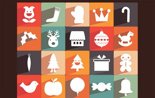 35 New Free Long Shadow Christmas Icons