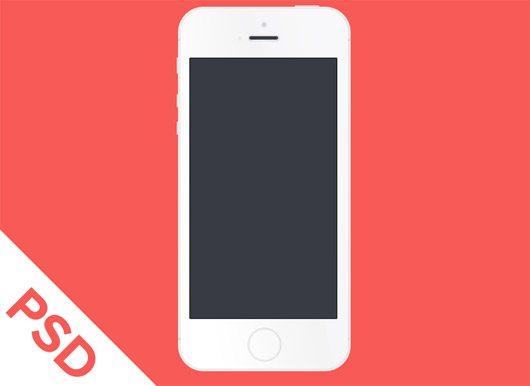 White Flat iPhone 5S PSD by Eugene Nevgen