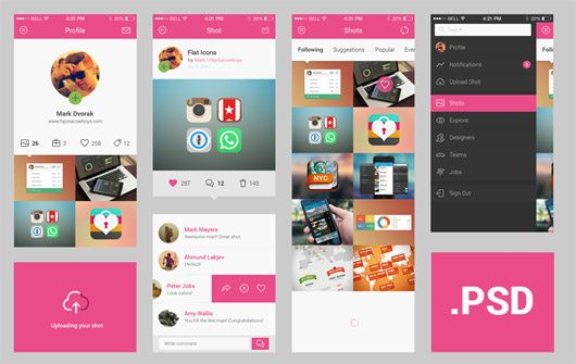 Dribbble app concept by Mark / HipstaCowboys