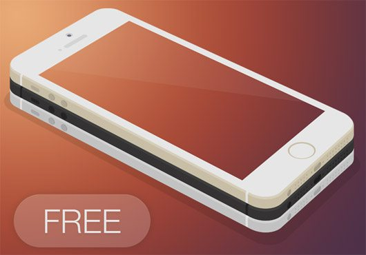 Flat iPhone 5s 3D - FREE PSD by Paul