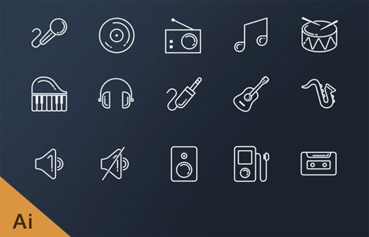 music line icons by sumit chakraborty