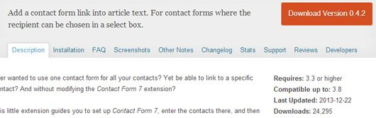 Add to you contact form a select box editor button