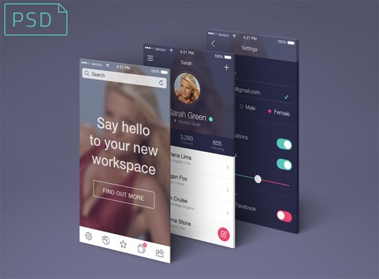 App Screens Perspective Mock-Up by Raul Taciu