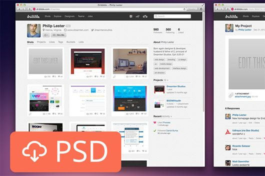 Dribbble Shot Previewer (PSD) by Philip Lester