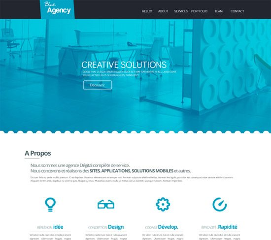 Blue Agency one page website by Pixel Mustache