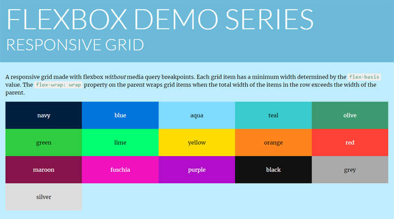 Various Flexbox Grids in Code Snippets